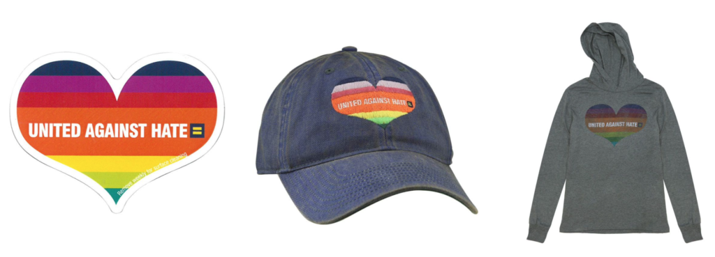 Three images of items for sale in the Human Rights Campaign online store. A United Against Hate rainbow heart sticker and hat and sweatshirt.