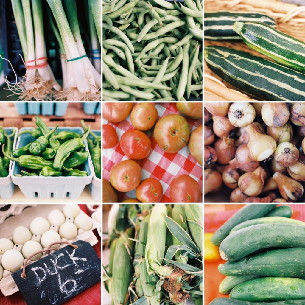 Grid of 9 square film photographs of various produce items from a farmers' market.