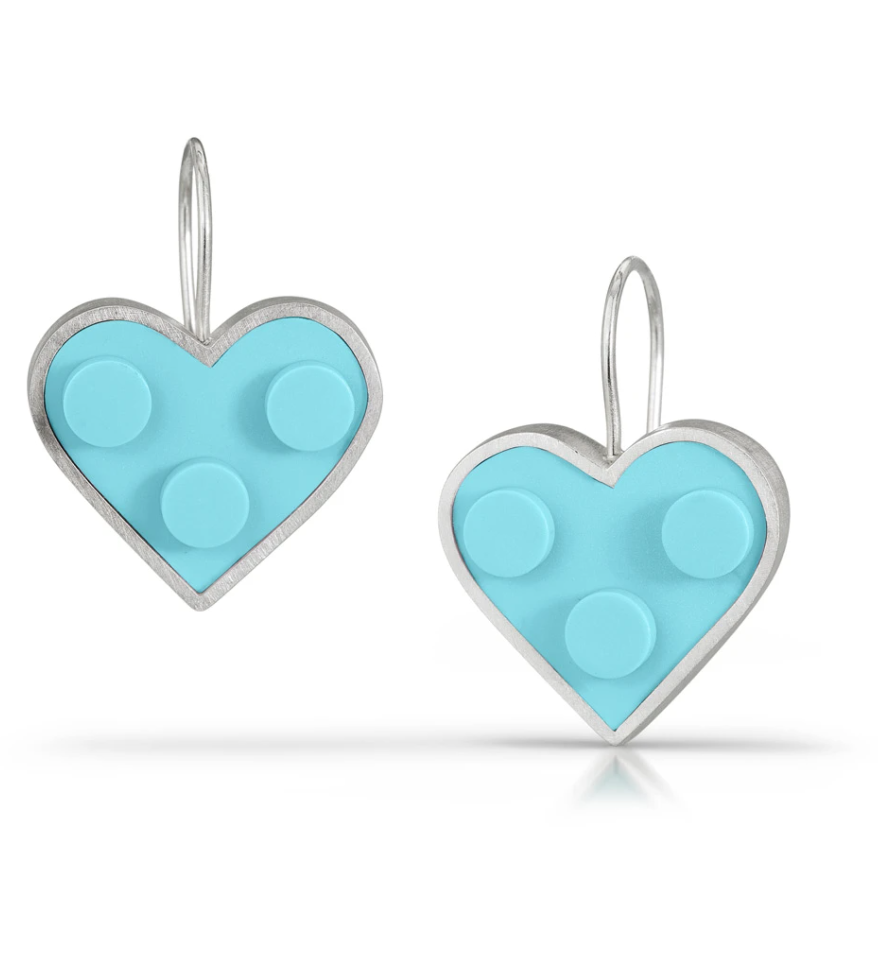 Photo of a pair of heart earrings made with blue LEGO and silver metal.